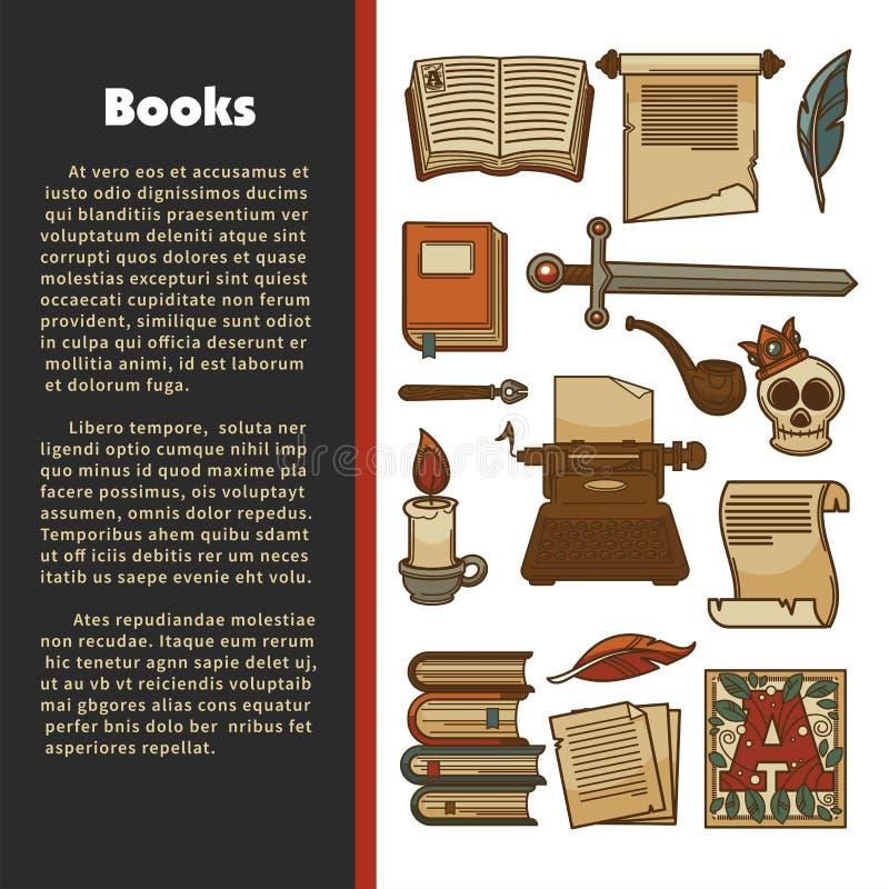 Litteraturaffisch av vektorarkivböcker stock illustrationer