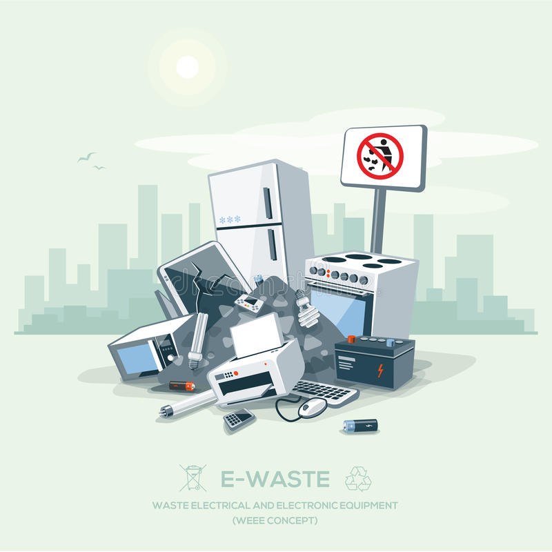 Vector E Sanitary Service : Littering garbage e waste stack on the street road stock