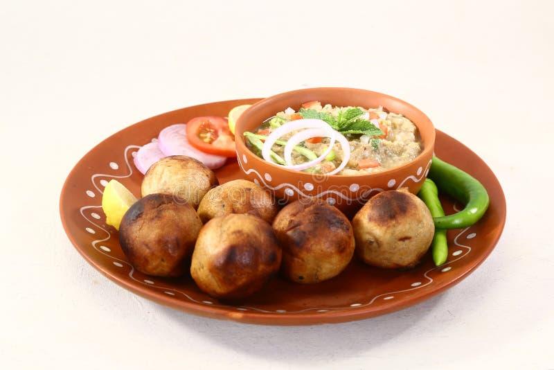 Litti Chokha of Bihari-Voedsel Sattu Litty, Indisch Voedsel stock foto