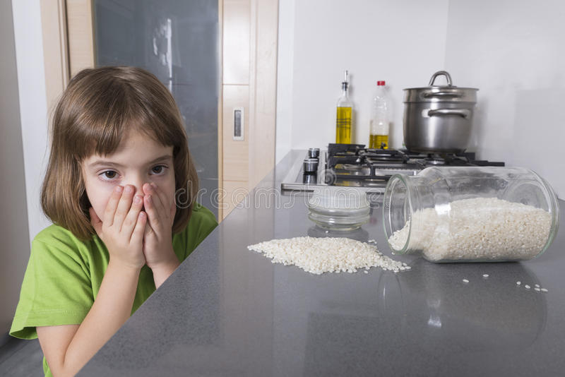 Little accident in the kitchen royalty free stock photography