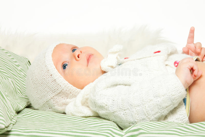 Download Little Adorable Baby In The Bed Stock Photo - Image: 22665658
