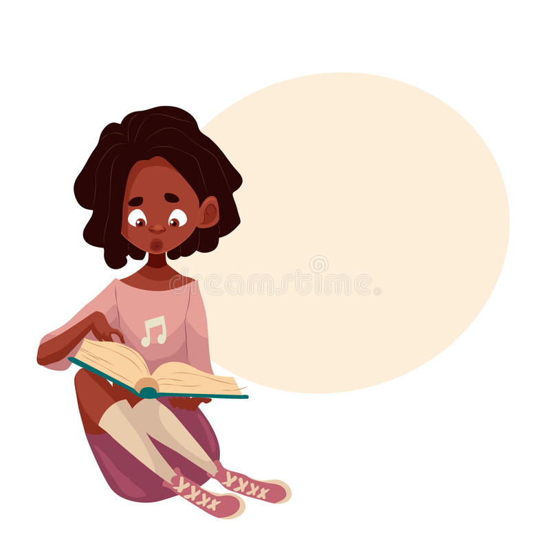Little African American girl sitting and reading a book vector illustration