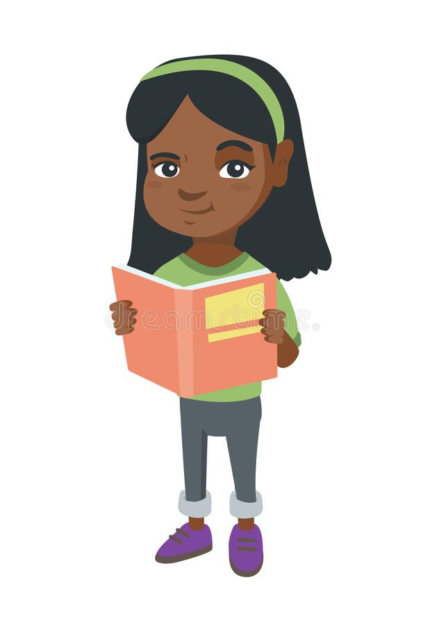Little african-american schoolgirl reading a book. Smiling schoolgirl holding a story book in hands. Concept of education. Vector sketch cartoon illustration stock illustration