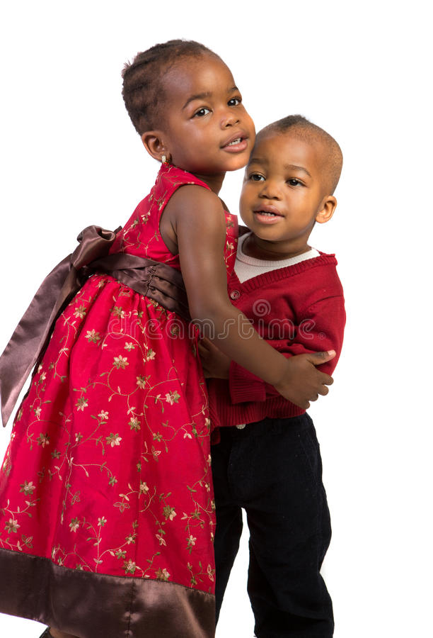 Download Little African American Sister And Bother Hug Stock Image - Image of light, dress: 27433013