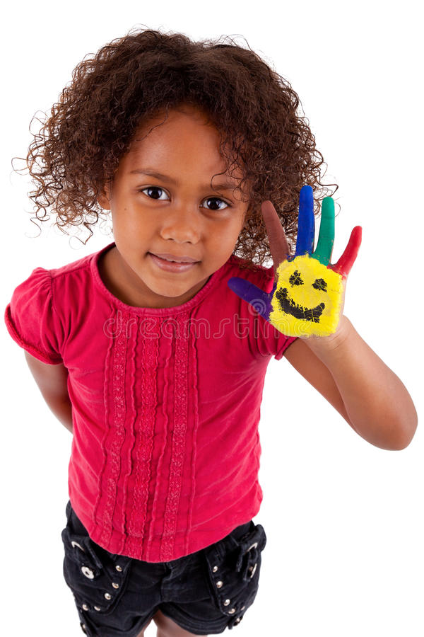 Download Little African Asian Girl With Painted Hands Stock Image - Image: 21336423