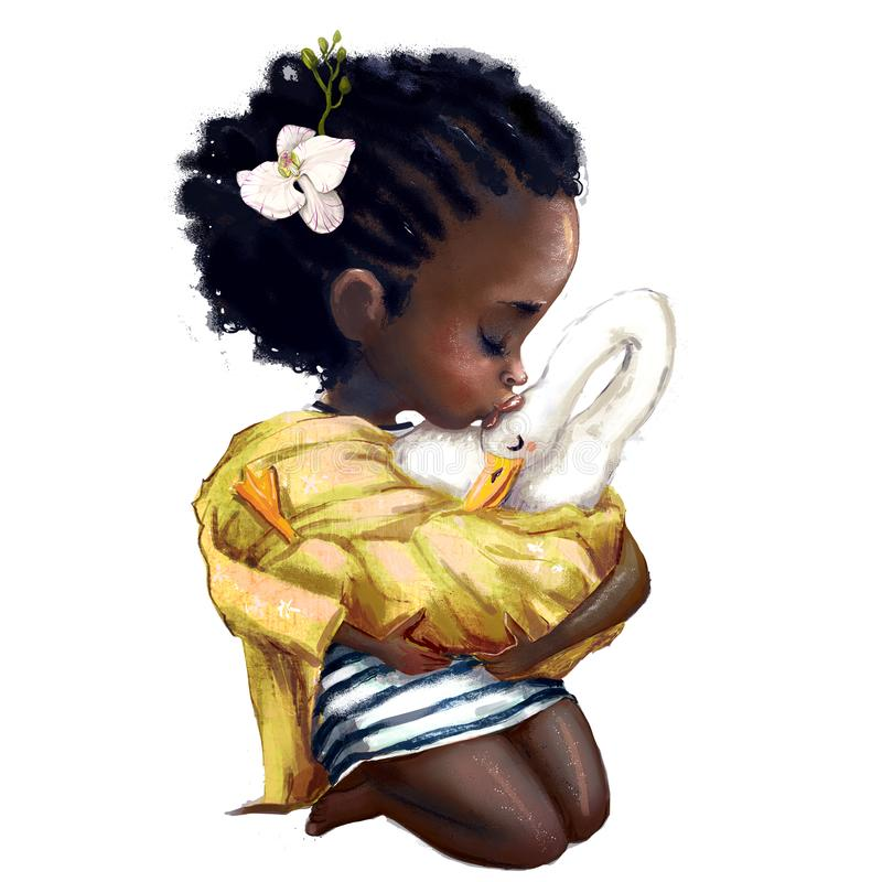 Little african girl with a goose. Little summer african girl holding a goose royalty free illustration
