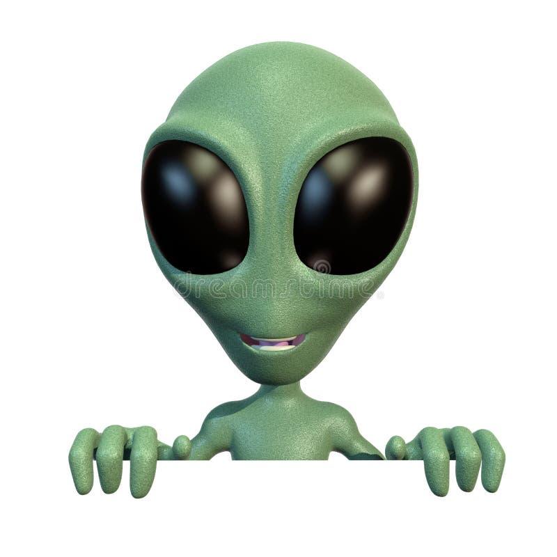 Little alien on top of blank sign. 3d rendering of a little green cartoon alien over a blank sign vector illustration