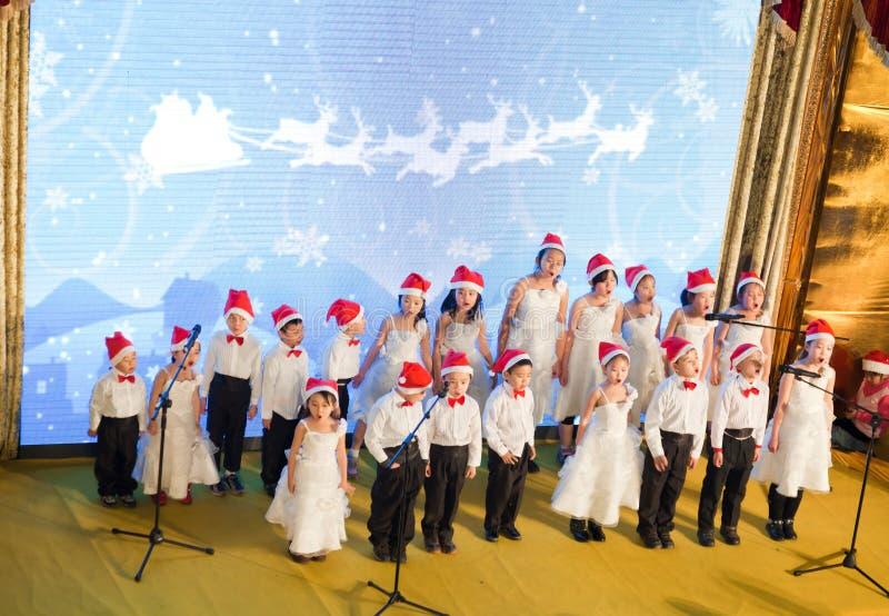 Little Angel Chorus singing Christmas songs royalty free stock image