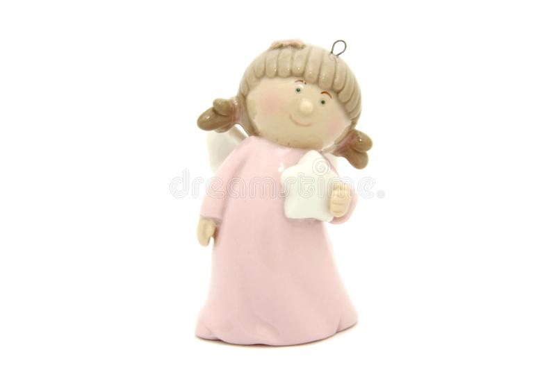Little angel christmas tree toy stock image