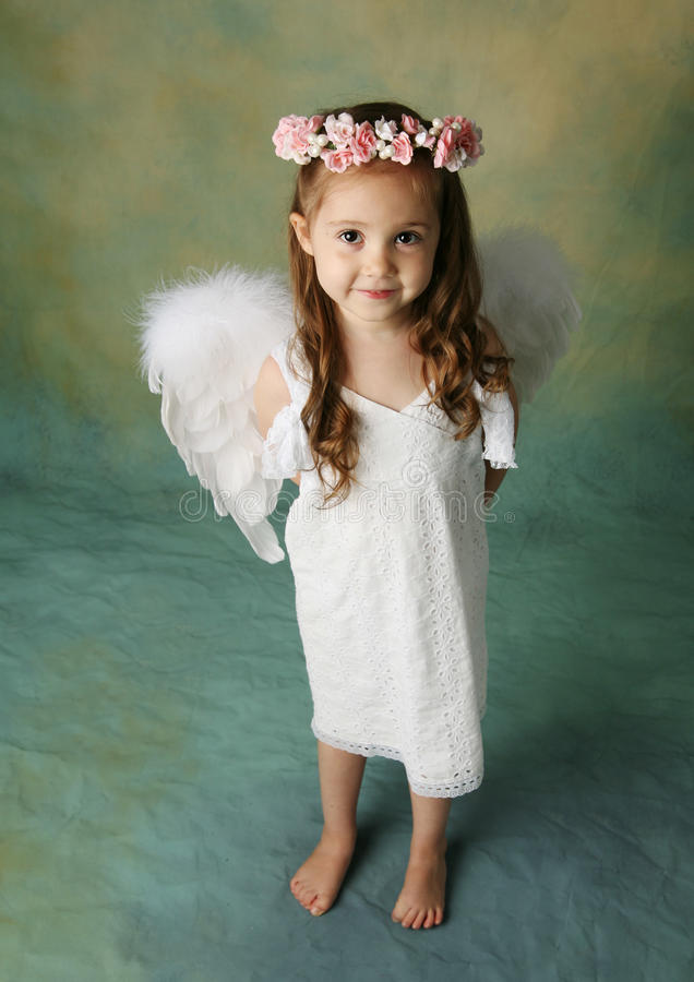Download Little Angel Girl stock photo. Image of little, flower - 17991724