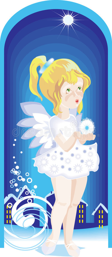 Download Little Angel Girl Wist A Star Stock Vector - Image: 7532591