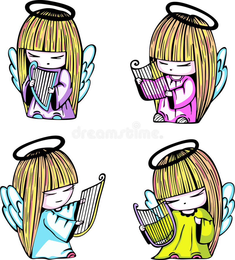 Download Little Angel Girls With Harp Stock Vector - Image: 26271906