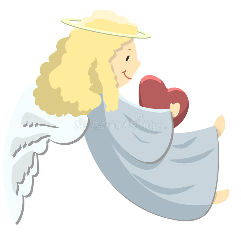 Little angel with heart stock illustration