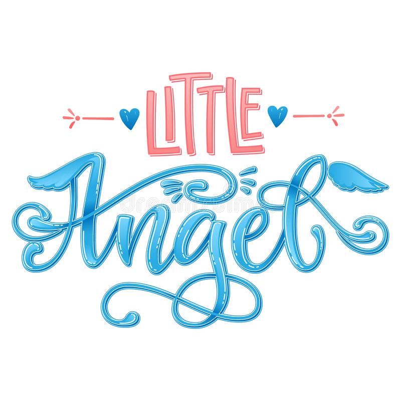 Little Angel quote. Baby shower hand drawn calligraphy script, grotesque stile lettering phrase royalty free illustration