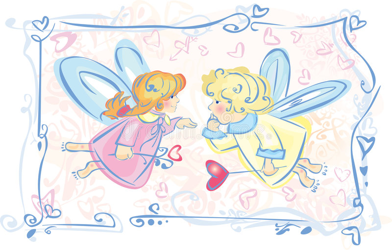 Vector Little angels cartoons. stock illustration