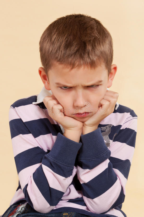 Free Little Angry Offended Boy. Royalty Free Stock Photo - 22832565