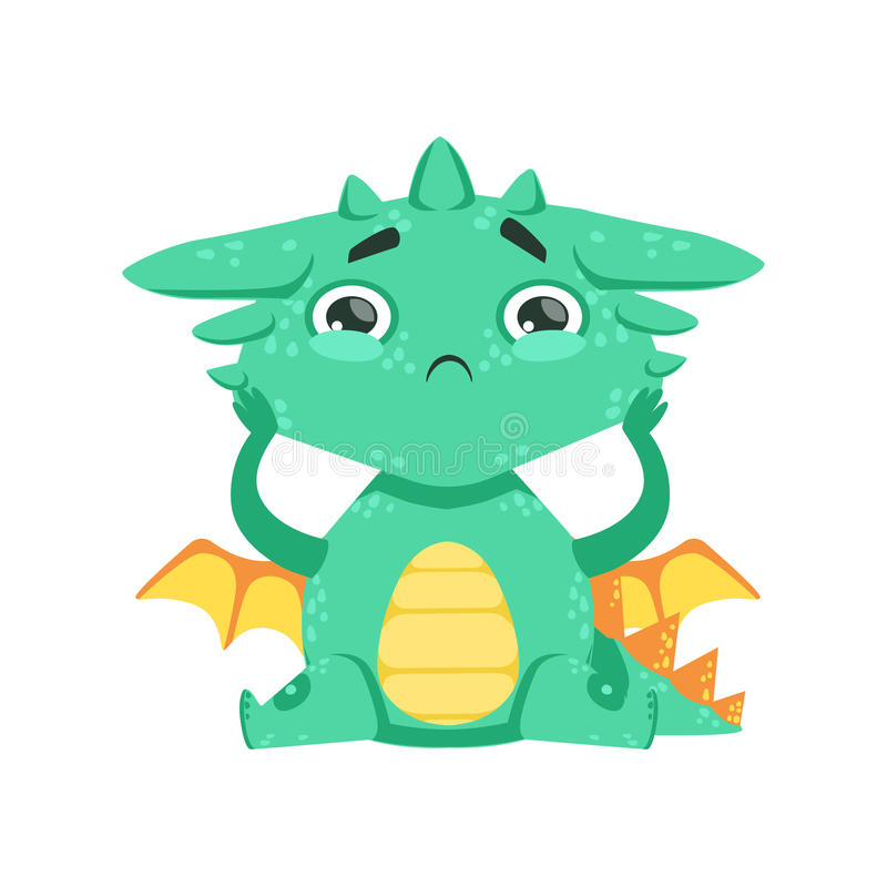 Little Anime Style Baby Dragon Feeling Lonely Cartoon Character Emoji Illustration. Vector Childish Emoticon Drawing With Fantasy Dragon-like Cute Creature vector illustration