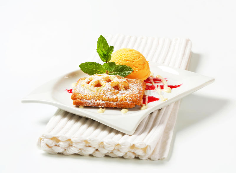 Download Little Apricot Pie With Ice Cream Stock Image - Image of digifoodstock, mini: 39505715