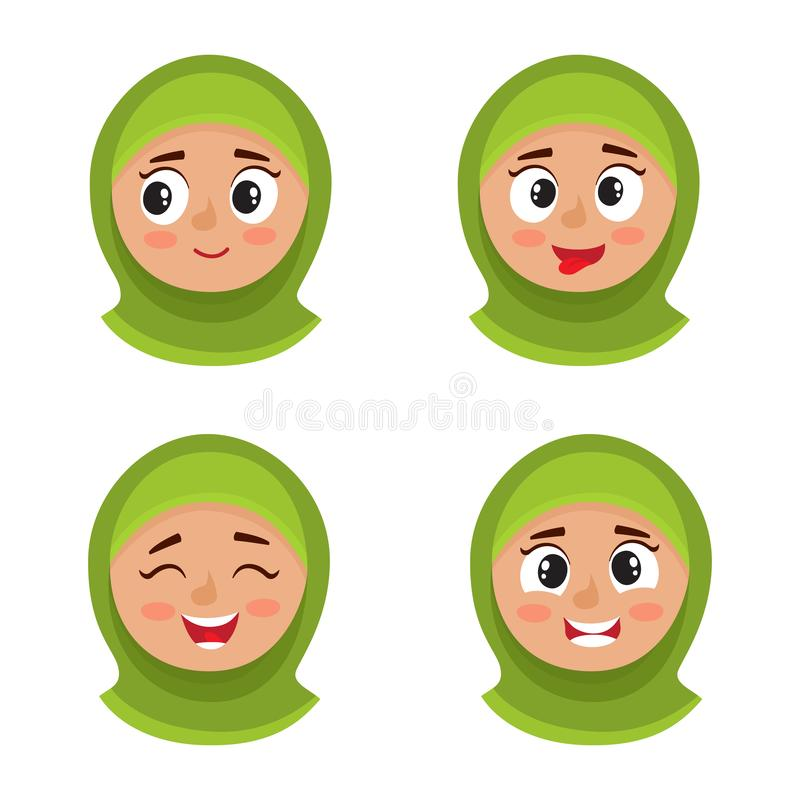 Set of arab girl with hijab happy face expression isolated on white vector illustration