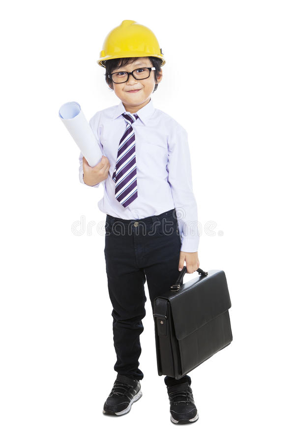 Download Little Architect Holding Bag - Isolated Stock Photo - Image: 33265616