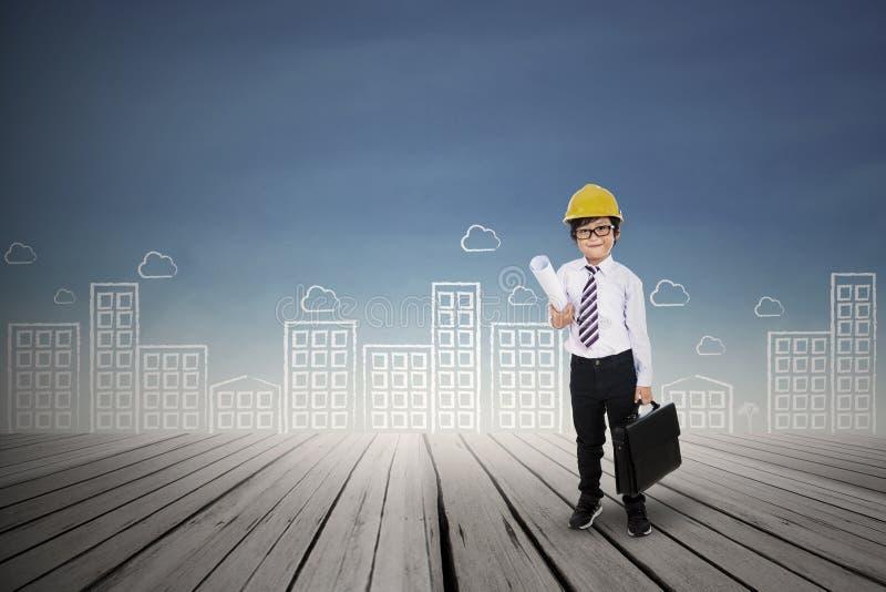 Download Little Architect Holding Bag Outdoor Stock Illustration - Image: 33265986