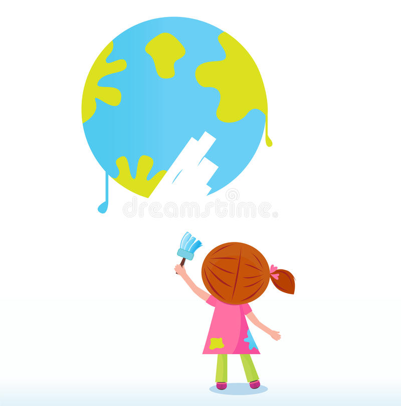 Little artist - child painting Earth ( planet ) royalty free illustration