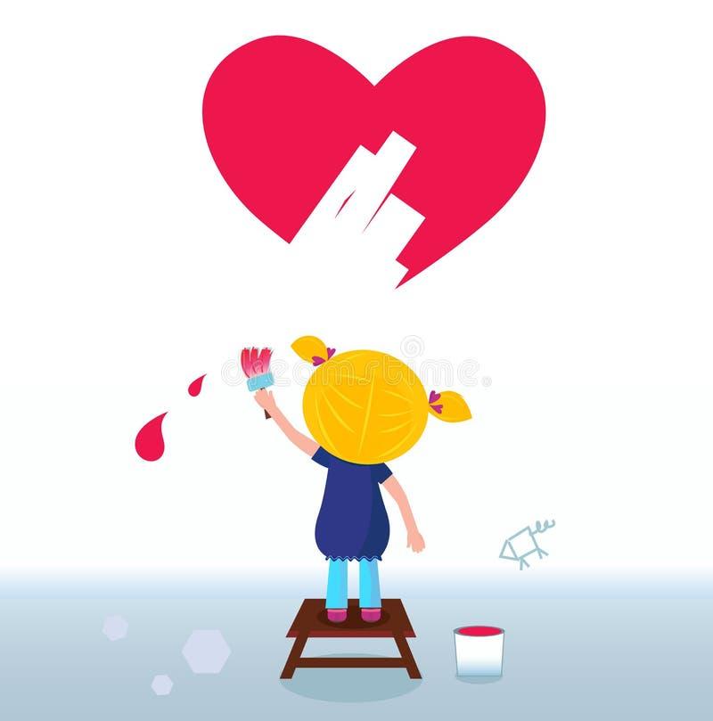 Little artist - cute girl painting red Heart vector illustration