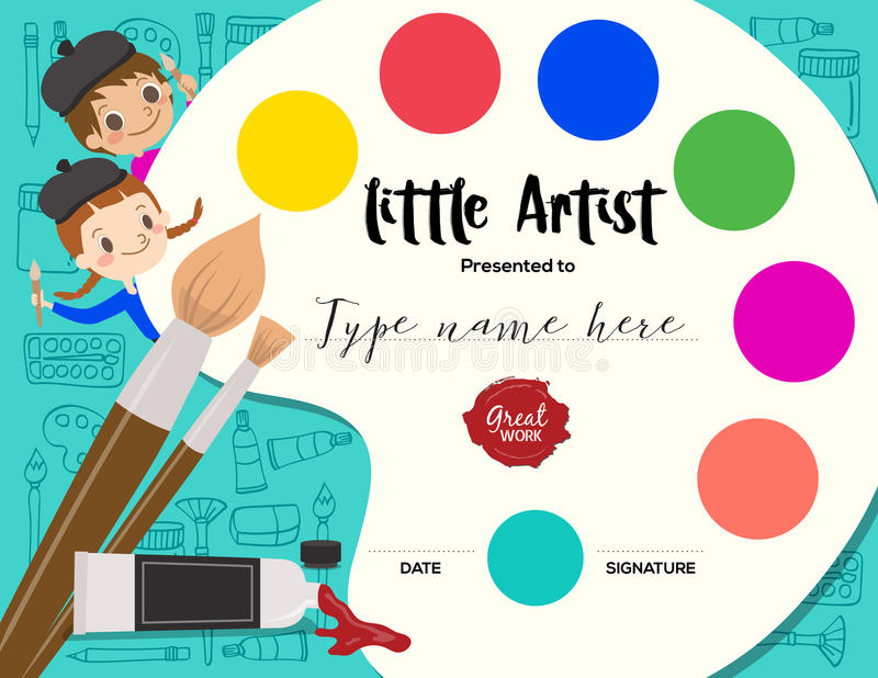 Little artist, kids diploma painting course certificate template stock illustration
