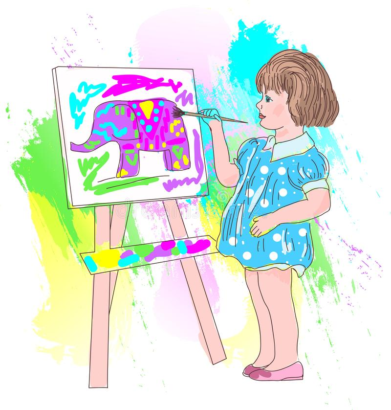 Little artist to the section of children`s drawing stock illustration