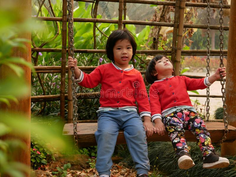 Little Asian baby girls, sisters, enjoy being in a swing together in a garden.  royalty free stock photo