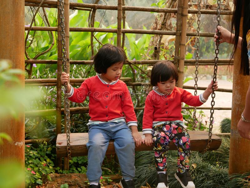Little Asian baby girls, sisters, enjoy being in a swing together in a garden, with their mother watching close by.  stock photography