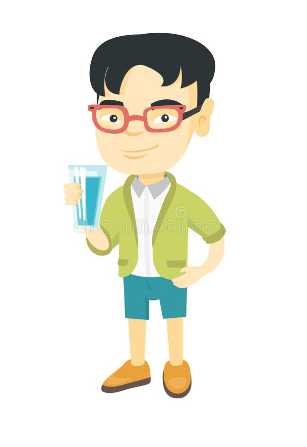 Little asian boy holding a glass of water. royalty free illustration