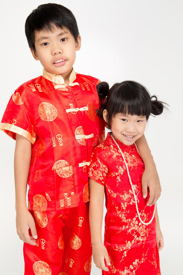 Little asian cute child in Chinese costume stock image