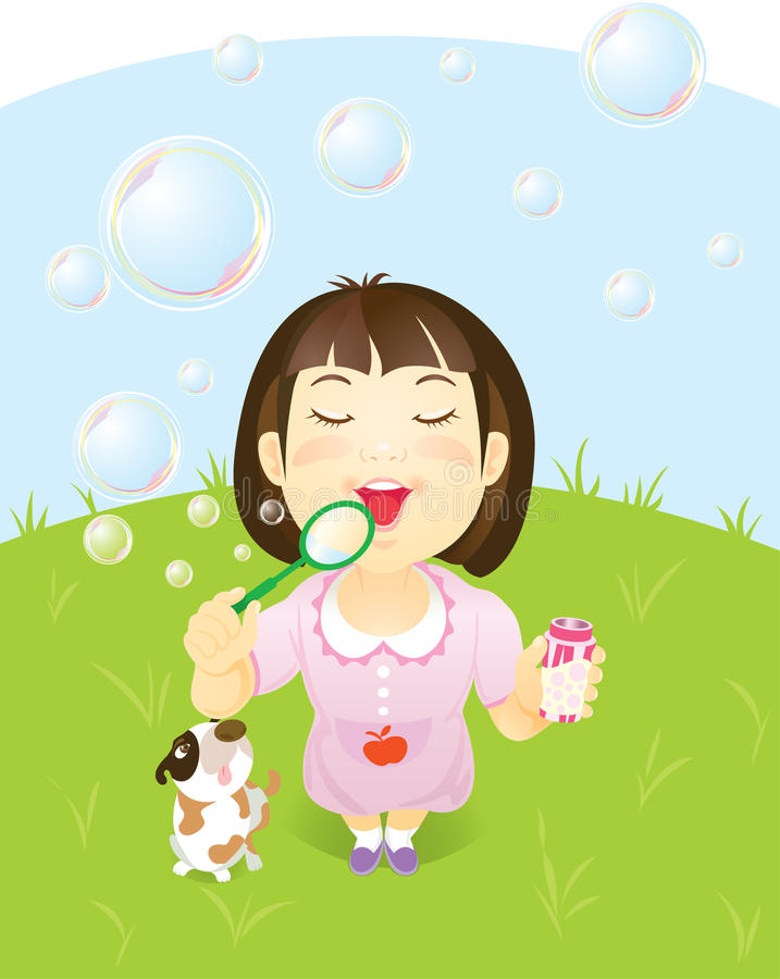 Download Little Asian Girl Blowing Bubbles Stock Vector - Image: 20906520