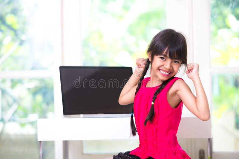 Download Little Asian Girl Stretching Her Arms Stock Image - Image: 33802575
