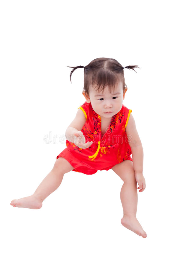 Little asian girl (thai) in traditional chinese cheongsam royalty free stock image