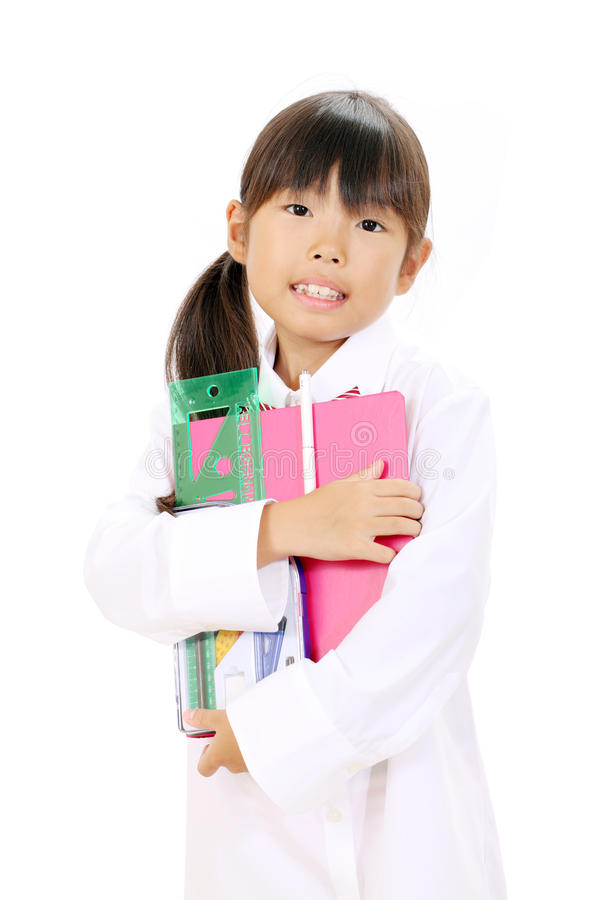 Download Little asian school girl stock image. Image of adorable - 27633559