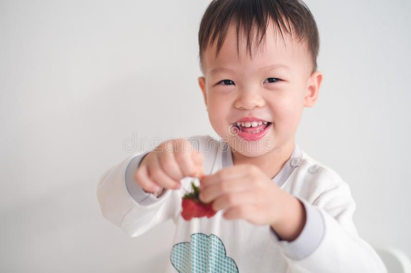 Little Asian 2 -3 years old toddler baby boy child using hands eating strawberry royalty free stock image