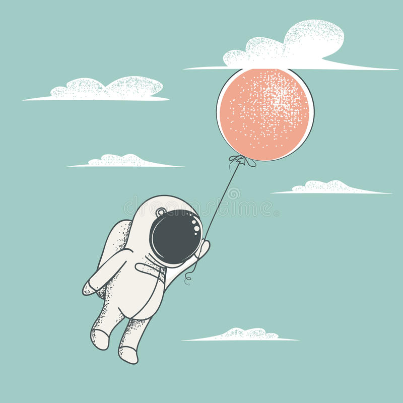 Little astronaut fly with red balloon royalty free illustration