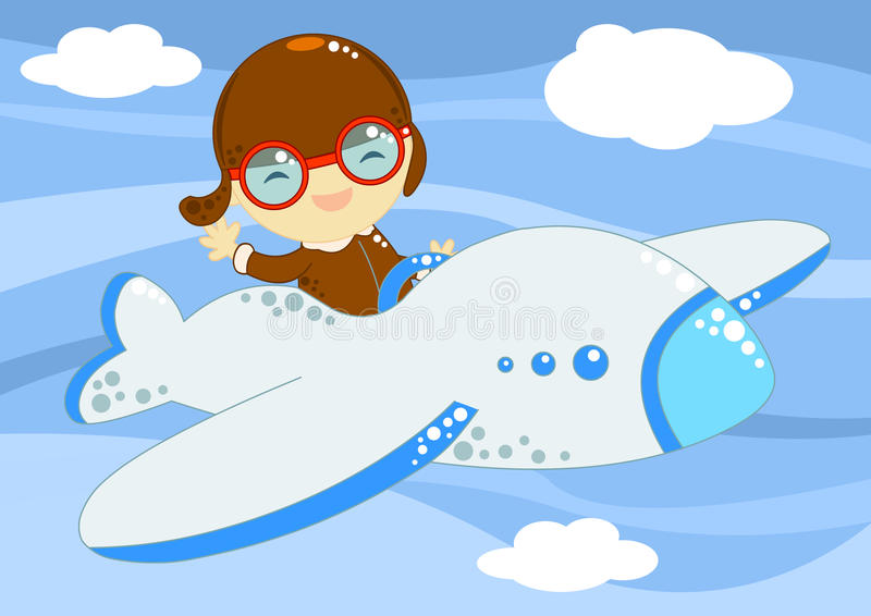 Little aviator up in the sky royalty free stock images
