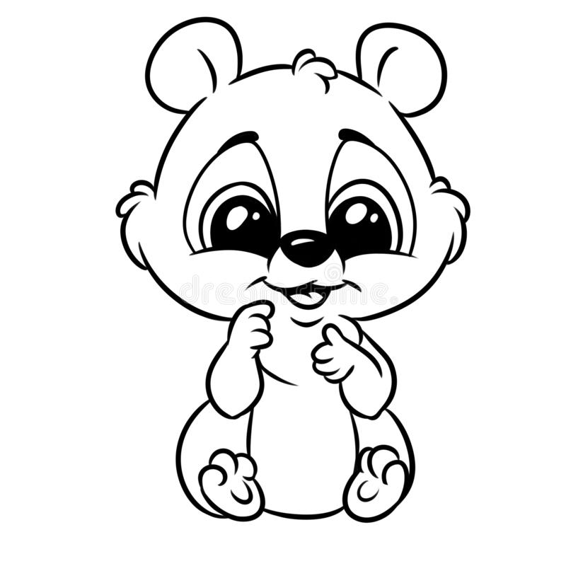 Little Baby Animal Big Eyes Coloring Page Cartoon Stock