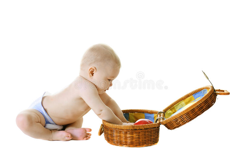 Download Little Baby With Basket On White Background Stock Photo - Image: 18235370