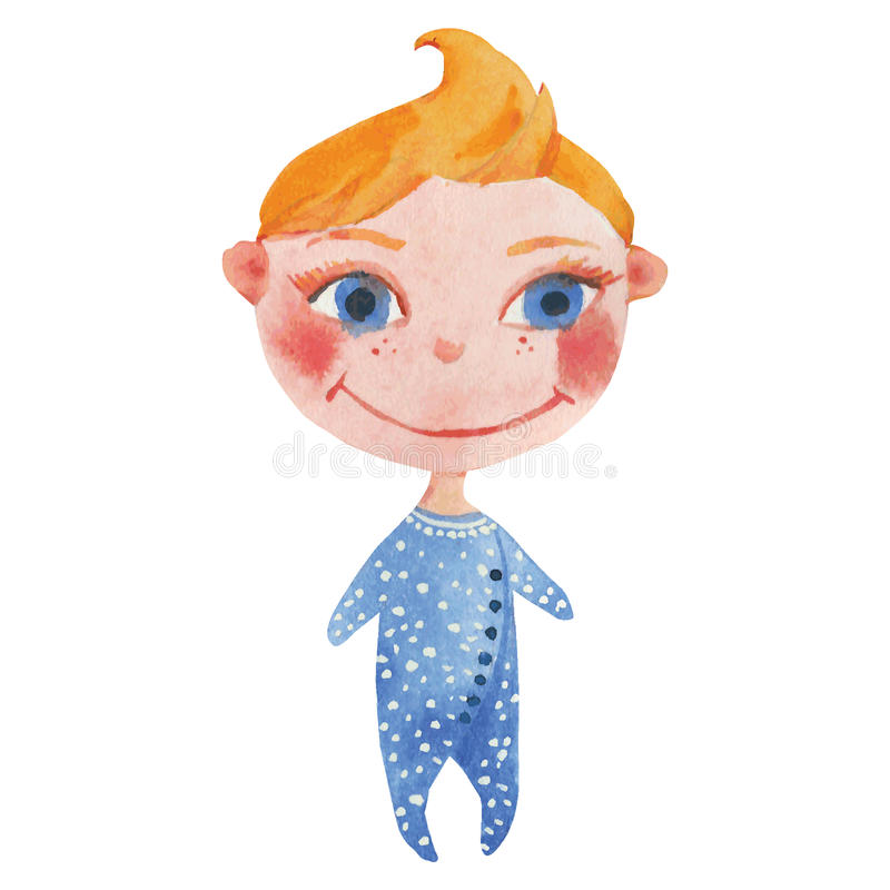 Little baby in blue vector illustration