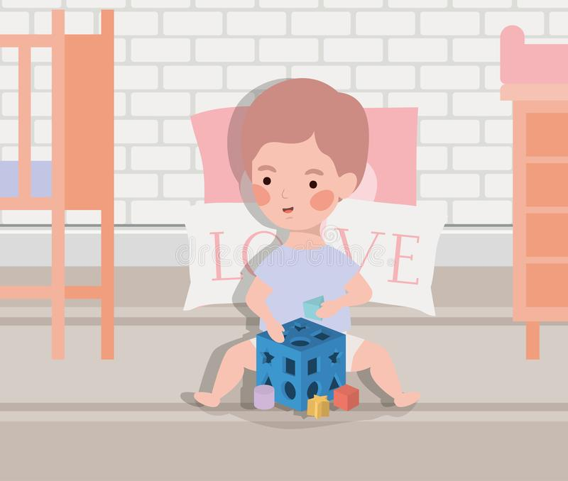 Little baby boy with blocks toy vector illustration