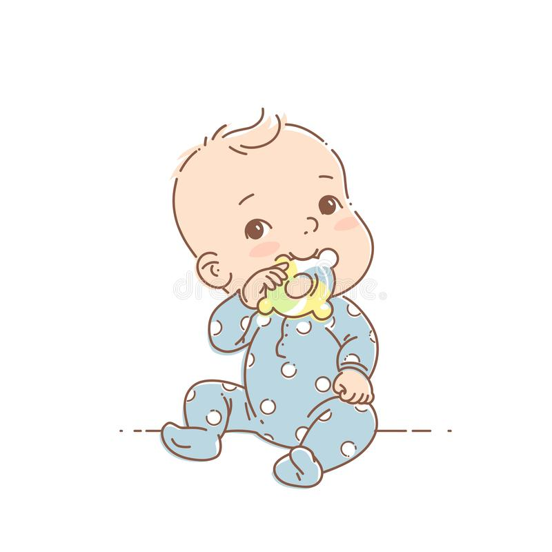 Little baby boy in blue pajamas sit, hold teething ring. Cute toddler child with toy in mouth. Color vector illustration. Baby wear jumpsuit. First year games royalty free illustration