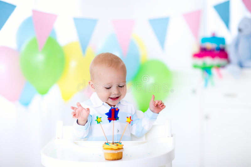 Little baby boy celebrating first birthday royalty free stock photos