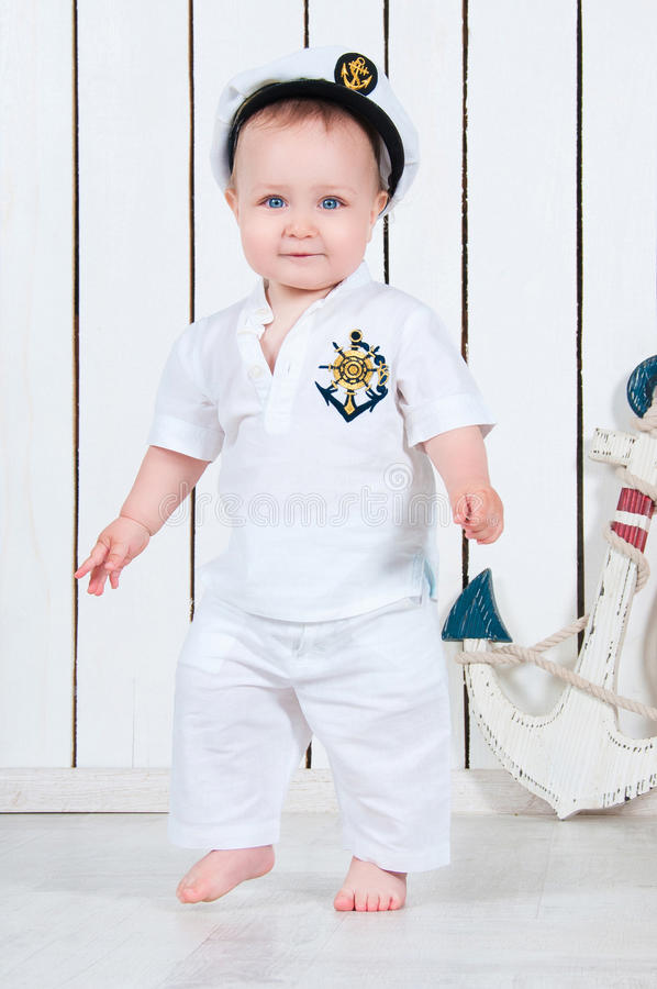 Free Little Baby Boy Dressed As A Sea Captain. Royalty Free Stock Photos - 43163718