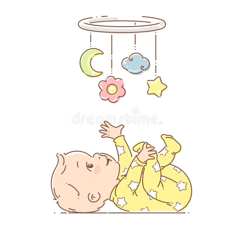 Little baby boy, girl play with hanging mobile toy. Baby wear yellow pajamas. Baby boy lying on back, look at bright hanging toy. Colorful vector Illustration stock illustration