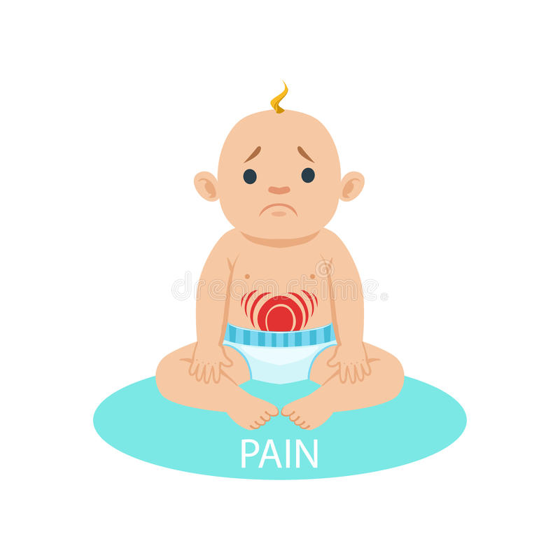 Little Baby Boy In Nappy Having Belly Pain, Part Of Reasons Of Infant Being Unhappy And Crying Cartoon Illustration royalty free illustration