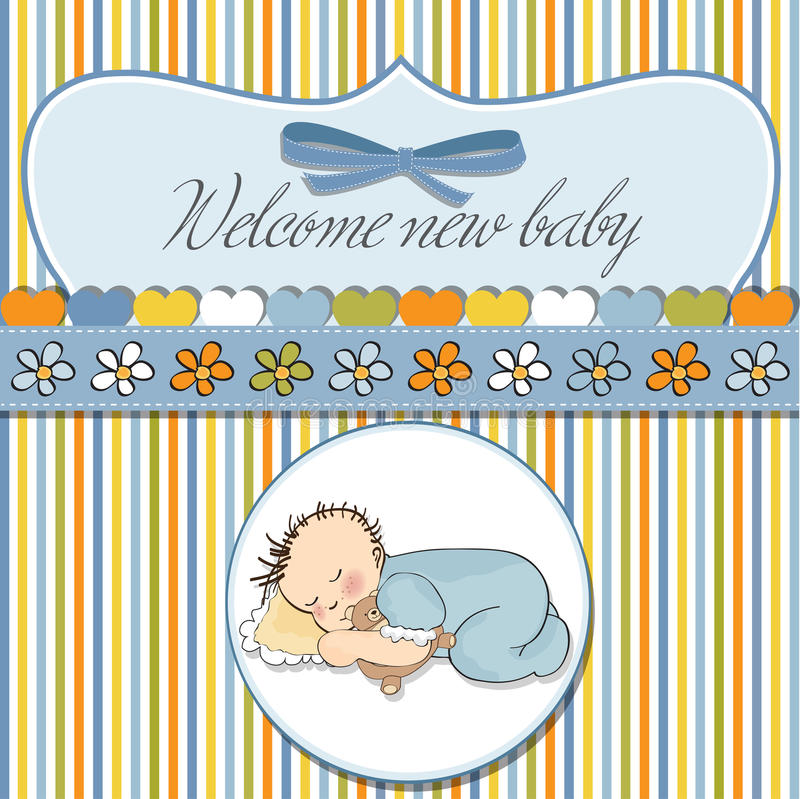 Download Little Baby Boy Sleep With His Teddy Stock Vector - Illustration of affection, minimalist: 23755503